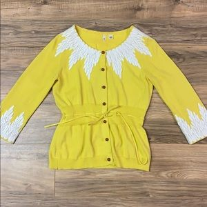 Anthropologie moth yellow cardigan with feathers